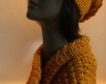 Accessory Set Hat And Cowl Snood Gold Gift Under 50