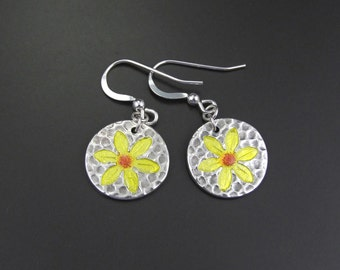 Silver and Enamel Yellow Flower Earrings. Daffodils. Daises. Handmade. Sterling Silver Ear Wires