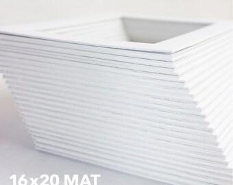 Classic White Mat - Standard 16x20 Mat for 11x14 Artwork - Bevel Cut - Acid Free
