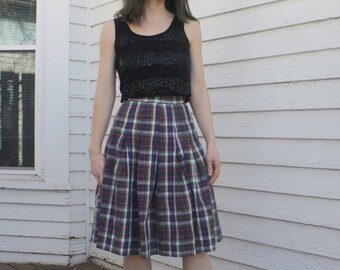 Plaid Pleated Skirt Vintage 50s XS 23 High Waist Cotton