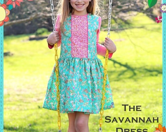 PDF The Savannah Dress - Girls PDF Pattern - Size 6 month - Size 10