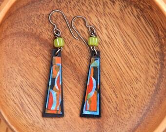 NOLA FIVE. Hand Painted Birch Wood Earrings.