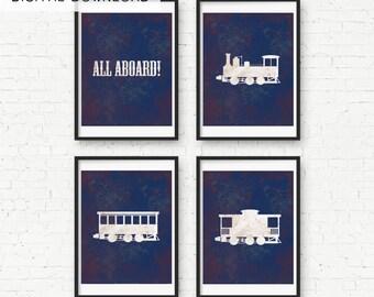 Vintage Train Nursery Print Wall Art - Digital Download - For Vintage Train Nursery with Cars and All Aboard!
