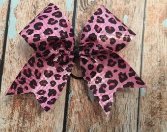 SALE Pink Leopard Cheer bow