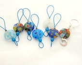 Bead Knitting Stitch Markers - Set of 7 - Select Your Set of Coin Millefiori Bead Markers with One Removable Marker