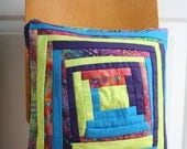 "13""x13"" Log Cabin Batik Pillow with kapok pillow form included"