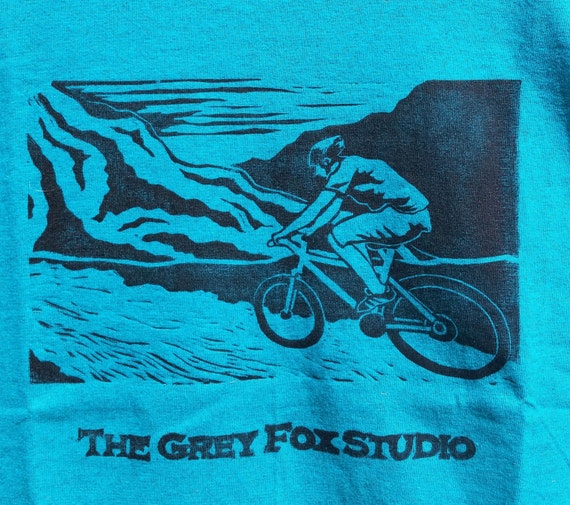 Mountain Biker T-Shirt in Teal Unisex Adult Sizes