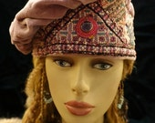Hat Beret Muted Lilac Velvet Beret with Indian Embroidery Mirrors Dangle on Top Hat hatsbybuck