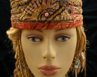 Hat Gypsy World Peace Hat Coral Beauty Indian Silk Scarf Vintage Indian Metallic Embroidery Hatsbybuck Sue Buck