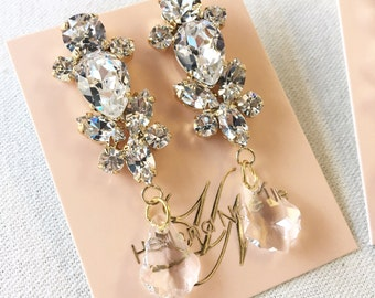 GRACE- Swarovski Bridal Earrings- Crystal Drop Earrings- Blush Bridal Earrings- Crystal Earrings- Chandelier Bridal Earrings