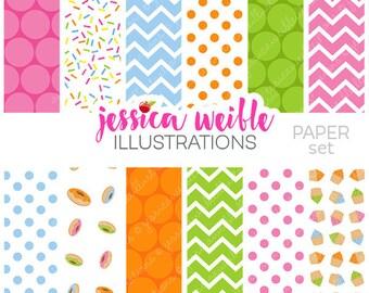 Sprinkled Sugar Cute Digital Papers - Commercial Use OK - Sprinkles Background, Sprinkles Paper, Chevron
