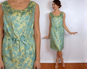 Vintage 60s Metallic Party Dress | Turquoise Gold Floral Dress