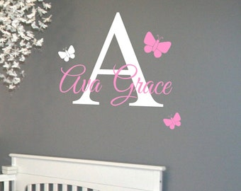 Monogram and Name with Butterflies- Vinyl Wall Decal -Custom Girls Bedroom Lettering
