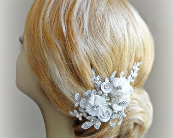 Lace Bridal Fascinator, Ivory Hair Clip with Crystals and Pearls, Flowers, White, Champagne - ALLISON