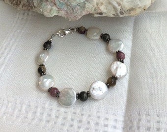 Tourmaline and Freshwater Pearls Bracelet