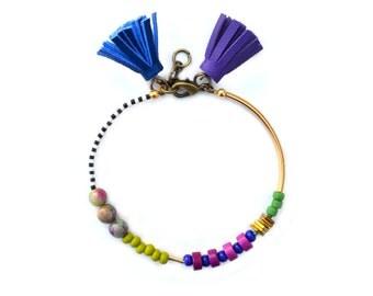 Beaded Bracelet, Friendship Bracelet, Tassel Bracelet, Leather Bracelet, Brass Bracelet, Minimal Bracelet, Gold Bracelet, Geometric Bracelet