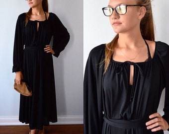Vintage Black Dress, Port International, 1970s Black Dress, Casual Dress, Vintage Dress, Black Dress