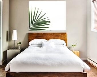 palm leaf canvas art, palm leaf photography, palm leaf canvas print, plant prints, green artwork, minimalist art, gallery canvas palm leaf