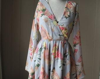 90s Vintage Floral Chiffon Dress Altered Dress Elastic waistband Dress Gray Dress Vintage Dress Small