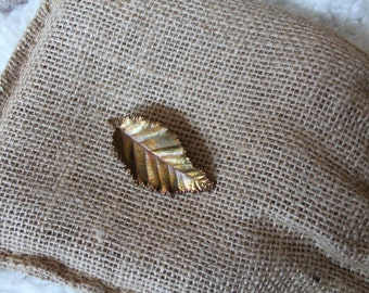 Vintage Leaf Pin Dipped Copper Gold  Brooch with tonal Fall hues