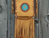ON SALE Beaded hippie purse ,    Fringed leather handbag ,  Crossbody leather purse