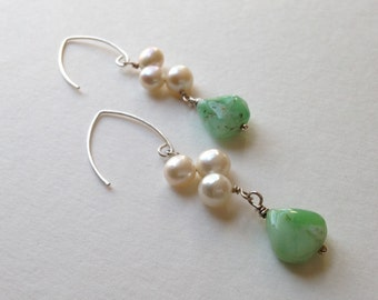 Whimsical Fresh Water Pearl Clusters and Australian Chrysoprase Teardrop Earrings with Sterling Silver