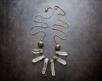 Long Quartz Crystal Point Statement Necklace with Vintage Perforated Beads and Flattened Brass Scroll Chain