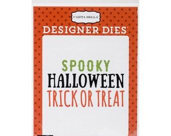 Carta Bella Designer 3 Die Set SCARY HALLOWEEN WORDS Spooky, Trick or Treat