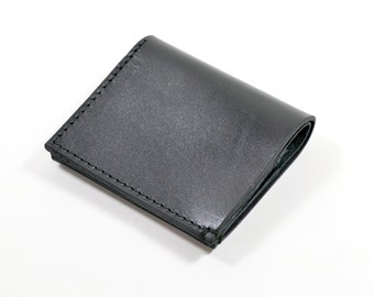 Black Bridle Leather Bi Fold Card Bill Wallet Handmade