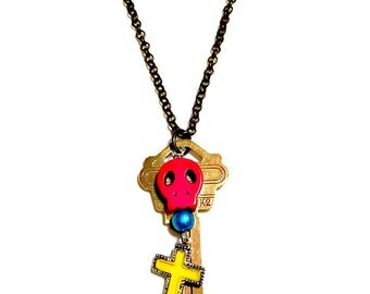 Skull Necklace, Day of the Dead Jewelry, Charm Necklace, Sugar Skull, Dia de los Muertos, Repurposed