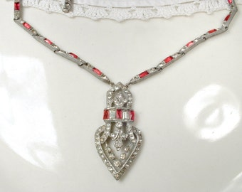 Antique Art Deco Necklace, Red Paste Rhinestone 1920s Flapper Pendant Necklace, Statement Silver Vintage Bridal GATSBY Wedding Downton Abbey