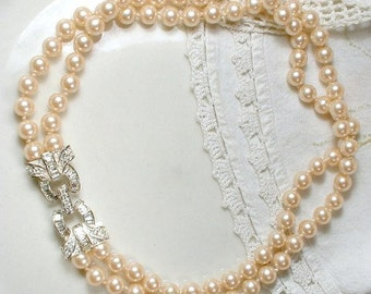 Art Deco Ivory Glass Pearl & Pave Rhinestone Bridal Necklace, 1950s Vintage 2 Strand Ornate Clasp Pearl Necklace, 1920s Deco Glam Wedding