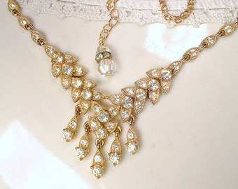 Vintage Art Deco Gold Rhinestone Necklace, Antique 1920s Bridal Pave Crystal gold Leaf Link Statement Necklace BOGOFF Gatsby Rustic Downton