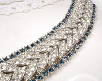 Antique Art Deco Navy / Sapphire Rhinestone Wide Link Bracelet, Silver Paste Something Blue & Clear Pave Crystal 1920s Bridal Gatsby Flapper