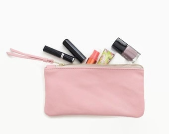 Light pink leather pouch, Leather clutch, Leather zip pouch, Zipper wallet, Leather cosmetic bag, Pastel leather bag