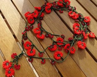 Red Burgundy Orange Flower Necklace - Crochet Flower Necklace