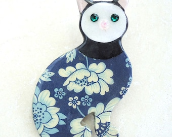 Blue Floral Print Emile Galle-Style Brighton Cat Brooch