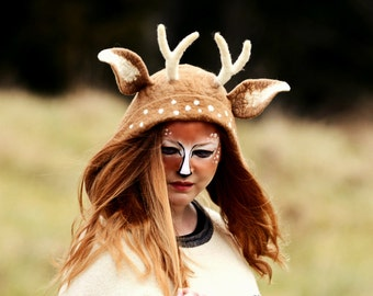 Fawn Hat. Fawn Ear Hood. Fantasy Hat. Cosplay Hat. LARP.