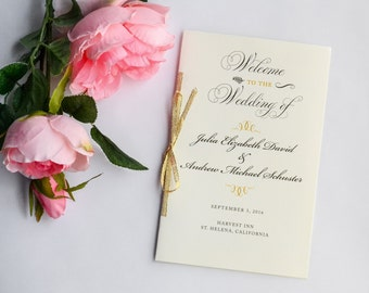Gold Wedding Program, Gold Glitter Programs, Ceremony Programs, Vintage Wedding, Order of Ceremony - Gold Glitter Program Sample