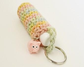 Crochet Lip Balm  Holder Keychain with Pig Charm