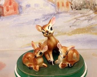 Porcelain Deer Fawns Woodland Animal Figurine Set of 3  Miniature Christmas Scene   T