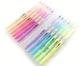 Starter set of PASTEL gel pens - 12 pastel gel pens, fine point, with storage case - great for planners and everyday writing