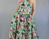 Vintage 80s Women's Bright Op Art Modern Print Sleeveless Summer Midi Cotton Vacation Dress