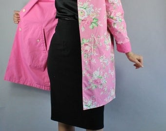 Vintage 90s Women's Roses Print Pink Reversible Weather Resistant Spring Jacket Coat