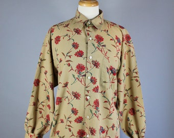 Vintage 90s Women's Red Floral Print Summer Cotton Long Sleeve Button Down Shirt