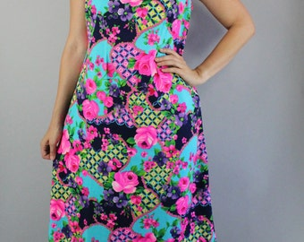 Vintage 60s Women's Bright Pink Roses Print Mod Boho Sleeveless Summer Barkcloth Unique Rare Wedding Guest Day Dress