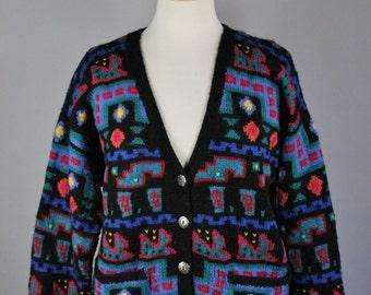 Vintage 80s Women's LL Bean Navajo Tribal Design Geo Pattern Wool Fall Winter Cabin Rustic Cardigan Sweater