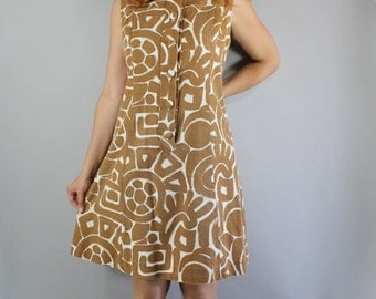 Vintage 60s 1960s Women's Brown White Tribal Ethnic Bold Mod Mid Century Modern Print Shift Wear to Work Rare Unique Day Dress