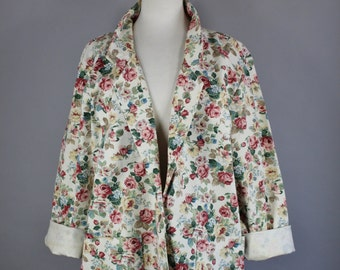 Vintage 80s Women's Pink Roses Print Cotton Canvas Country Cottage Field Jacket Boho Fall Spring Jacket Blazer