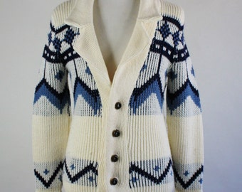Mens Sweater. 70s Nordic Cardigan Sweater. Wool Sweater. Wood Button Sweater. Tribal Print Sweater. Vintage. Mens. Small. GOGOVINTAGE
